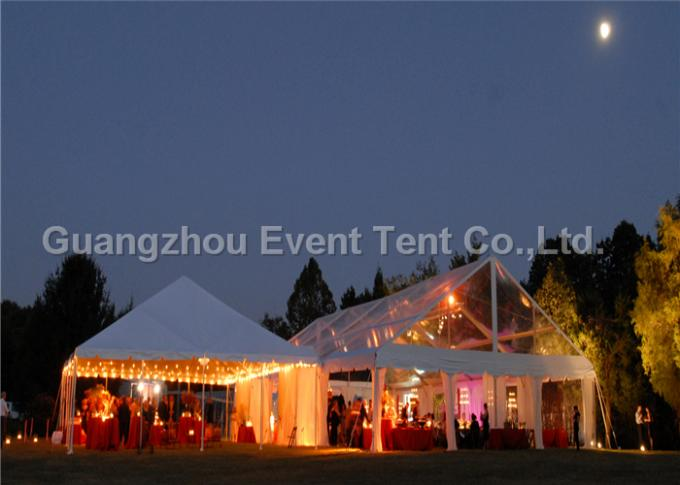 Strong Frame Heavy Duty Tents For Camping , Clear Roof Wedding Tent With 200 Person Seat