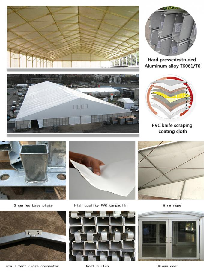 Waterproof Outdoor Warehouse Tent 25 Meters With ABS Wall Clear Window
