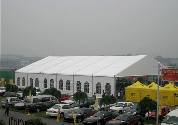 Large Clear Span Wide Custom Event Tents UV Resistant Glass Door For Auto Exhibition