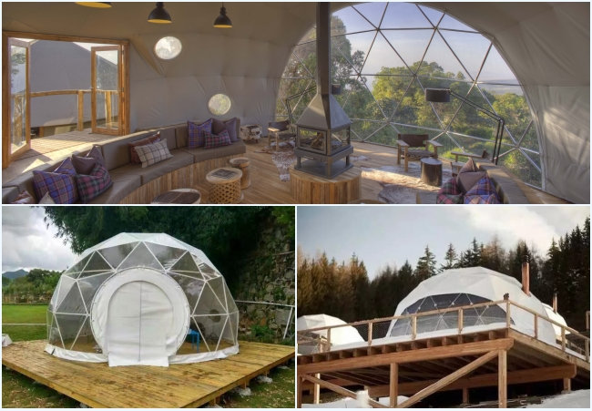Prefabricated Clear Top Lightweight Geodesic Tent For Outdoor Living