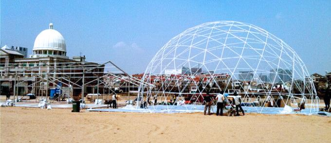 Colorful PVC Fabric Rustless Geodesic Dome Tent Dia 5-30m Steel Structure