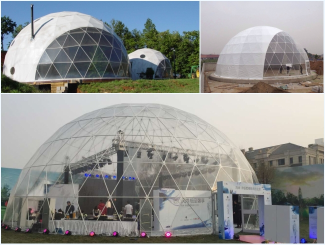 20m Diameters Round Geodesic Dome Tents With Clear PVC Fabric