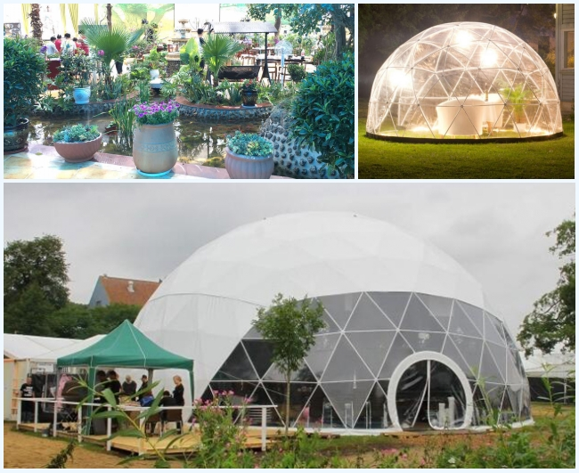 Transparent 6m Geodesic Dome Tent Greenhouse With PVC Windows