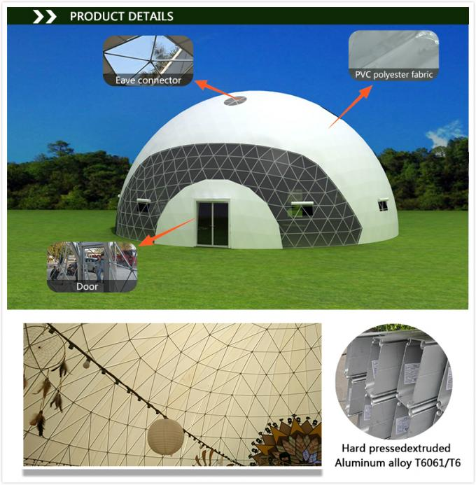 Big geodesic dome tent , 30m diameter white large wedding marquee tent for sale