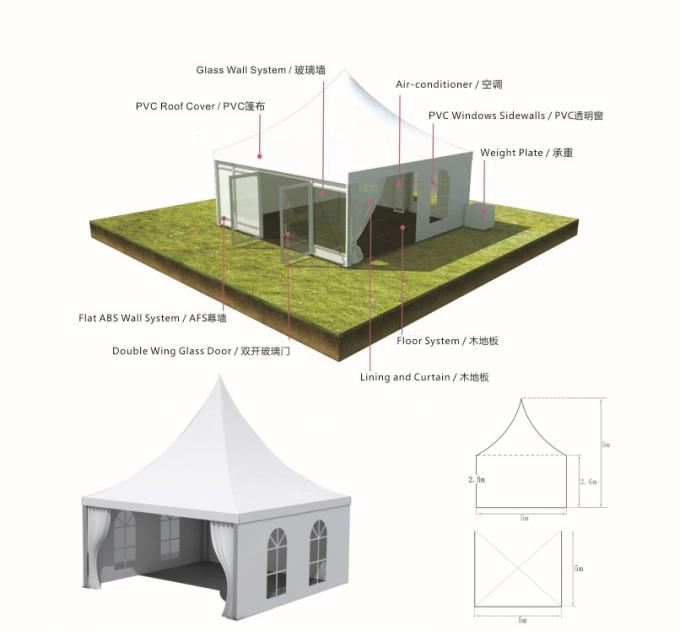 Customize Pagoda Outdoor event tent with aluminum profile 6061-T6 Frame