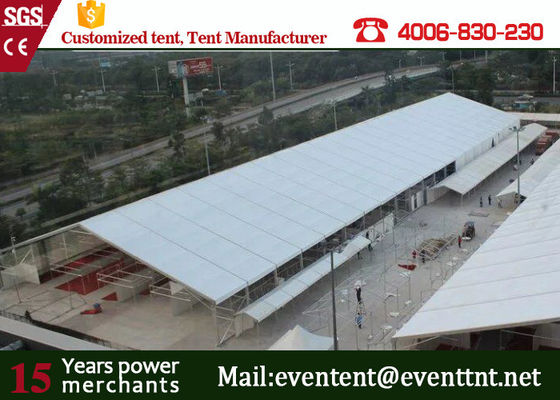 China Clear Span Marquee With Glass Fire Door , Steel Clear Span Buildings Windproof White supplier