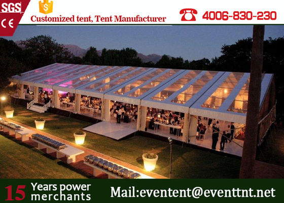 China Strong Frame Heavy Duty Tents For Camping , Clear Roof Wedding Tent With 200 Person Seat supplier
