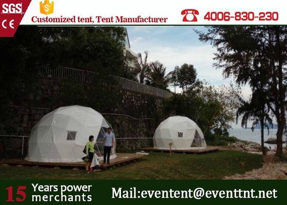 China Luxury Camping Tent Geodesic Dome 6m Diameter 6 - 8 Person With Clear Walls supplier