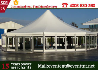 China Wedding Solar Power Aluminum Pop Up Fire Retardant Tent With Glass Wall supplier