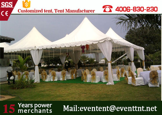 Strong structural marquee pagoda party tent with PVC white side wall for wedding event
