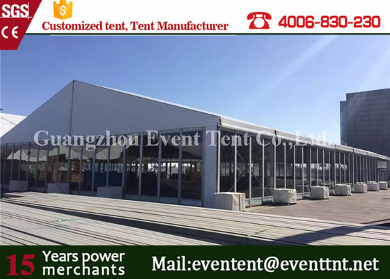 China Large Clear Span Wide Custom Event Tents UV Resistant Glass Door For Auto Exhibition supplier