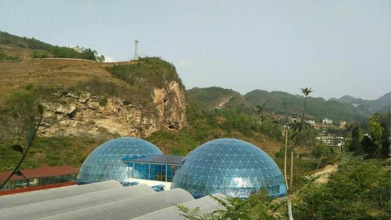 China Luxury Fiberglass Large Dome Tent / Geodesic Dome Tents For Permanent Hotel supplier
