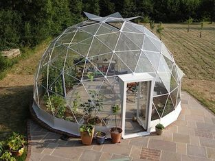 Outdoor Half Sphere Glaming Glass Geodesic Dome Tent With Igloo Frame