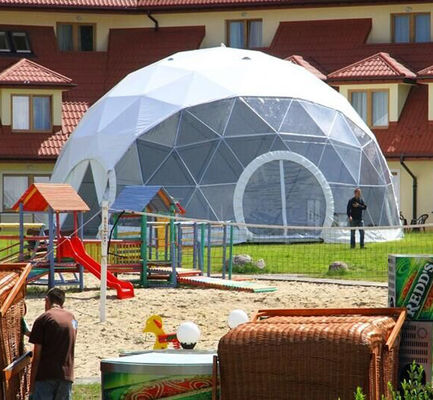 China Transparent Geodesic Galvanized Steel Frame Large Dome Tent 20m Diameter supplier