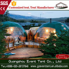 Steel Frame PVC Covering Green Geodesic Dome Tent , Diameter 4-8 M