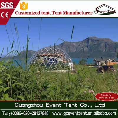 Popular Steel Frame Seaside White Geodesic Dome Tent Diameter 6m - 8m