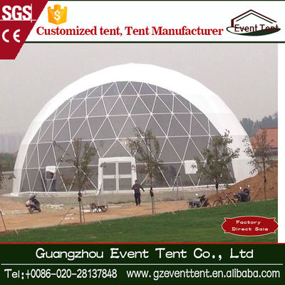 White Tear Resistant Inflatable Geodesic Dome Tent Steel Frame Tent Dia 4-60m