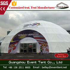 Round white half sphere tent , 35m diameter geodesic dome tent