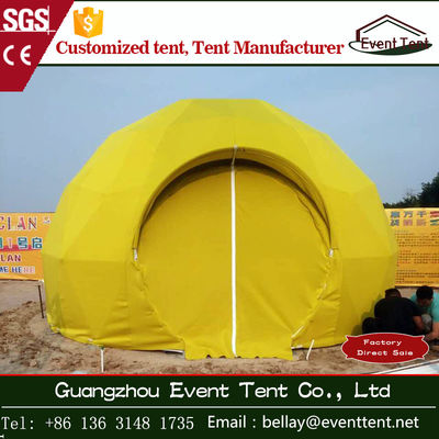 China Double - coated pvc Luxury Camping Tent , small yellow geodesic dome tent for living room supplier