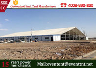China PVC Fabric Temporary Tent Buildings Tear Resistant , Outdoor Storage Tent Transparent factory