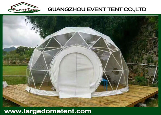 China Transparent 6m Geodesic Dome Tent Greenhouse With PVC Windows factory