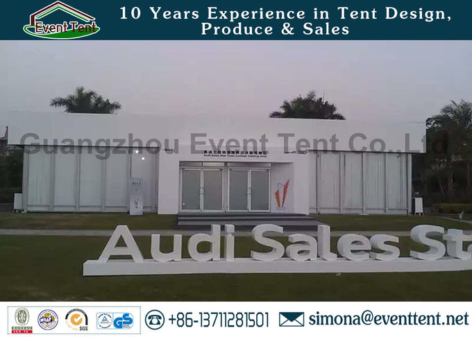 Custom 30 X 50 Frame Tent White , Water Resistant Tent  For Auto Show Exhibition