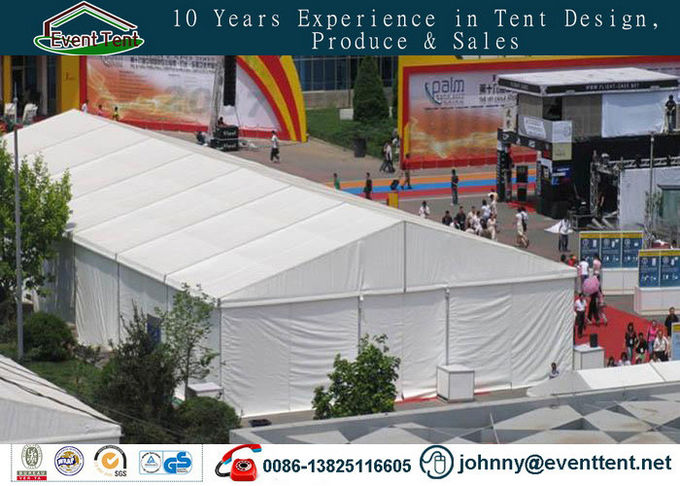 Glossy White Fabric Wedding Party Tent Heavy Duty Steel Frame For Trade Show