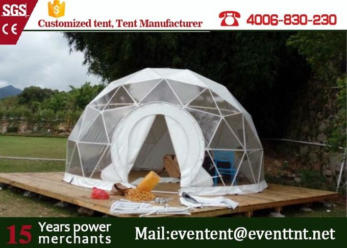 Luxury Camping Tent Geodesic Dome 6m Diameter 6 - 8 Person With Clear Walls